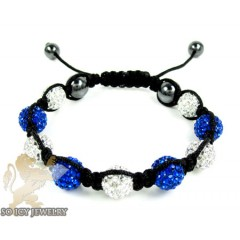 Blue & White Rhinestone Macramé Bead Rope Bracelet 9.00ct