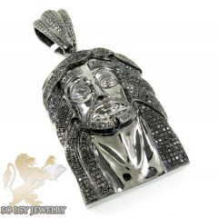 Mens Black Sterling Silver Black Diamond Jesus Pendant 1.75ct