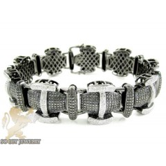 Black Sterling Silver Black & White Diamond Bracelet 2.35ct