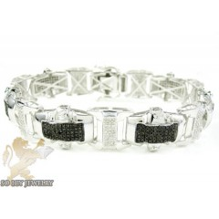 White Sterling Silver Black & White Diamond Bracelet 3.00ct