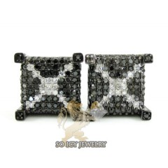 14k Black Gold White & Black Diamond Cube Earrings 1.25ct
