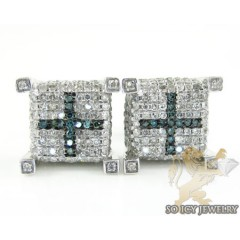 14k White Gold White & Blue Diamond Cube Earrings 1.25ct