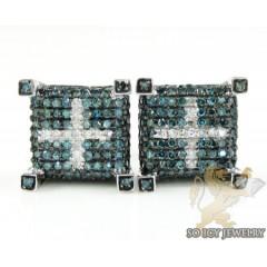14k White Gold Blue & White Diamond Cube Earrings 1.25ct