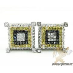 14k White Gold Color Diamond Cube Earrings 1.25ct