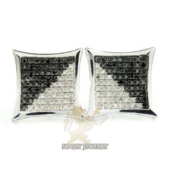 14k White Gold Black & White Diamond Earrings 1.25ct
