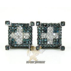 14k White Gold Blue & White Diamond Cube Earrings 1.00ct