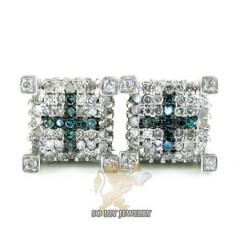 14k White Gold Blue & White Diamond Cube Earrings 0.50ct