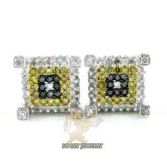 14k White Gold Color Diamond Cube Earrings 0.50ct