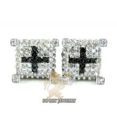 14k White Gold Black & White Diamond Cube Earrings 0.50ct