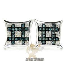 14k White Gold Blue & White Diamond Earrings 0.50ct