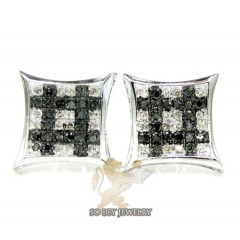 14k White Gold Black & White Diamond Earrings 0.50ct