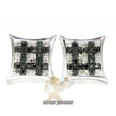 14k White Gold Black & White Diamond Earrings 0.50ct