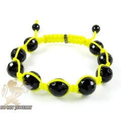 Macramé Black Onyx Faceted Bead Neon Yellow Rope Bracelet