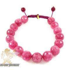 Pink Marble Onyx Macramé Bead Rope Bracelet