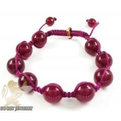Raspberry Marble Onyx Macramé Bead Rope Bracelet