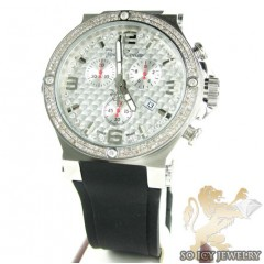 Mens Joe Rodeo White Stainless Steel Phantom Diamond Watch 2.25ct