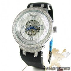 Mens Joe Rodeo White Stainless Steel Master Diamond Watch 2.20ct