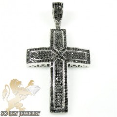 10k White Gold Black Diamond Cross 1.35ct