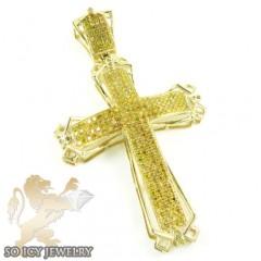 10k Yellow Gold Canary Diamond Fancy Cross 1.72ct