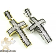 10k Gold Black & White Diamond Cross 0.90ct