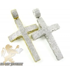 10k Gold White Diamond Cross 1.70ct