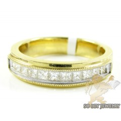 14k Yellow Gold Princess Diamond Wedding Band 1.30ct