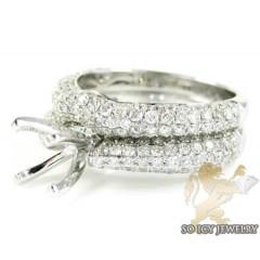 14k White Gold Diamond Semi Mount Ring & Wedding Band Set 2.00ct