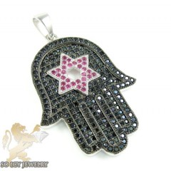 Sterling Silver Ruby & Black Cz Star Of David Hamsa Pendant 1.50ct
