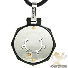 Mens Baraka 18k Gold & High Tech Ceramic Zodiac Pendant