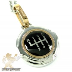 Mens Baraka 18k Rose Gold & White Stainless Steel Gear Box Grand Prix Pendant