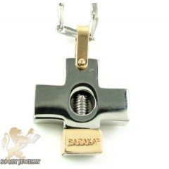 Mens Baraka 18k Gold & Stainless Steel Cross Pendant