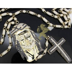 25.00ct 14k Yellow Gold Diamond jesus & Cross Rosary Chain