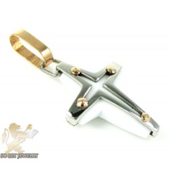 Mens Baraka 18k Gold & White Onyx Cross