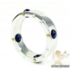 Mens Baraka 18k White Gold & Blue Onyx Ring
