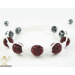Ruby Red Rhinestone Macramé Faceted Bead Rope Bracelet 5.00ct