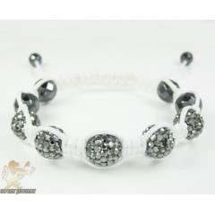 Smoke Mirrored Rhinestone Macramé Faceted Bead Rope Bracelet 5.00ct