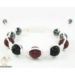 Ruby Red & Black Rhinestone Macramé Faceted Bead Rope Bracelet 5.00ct
