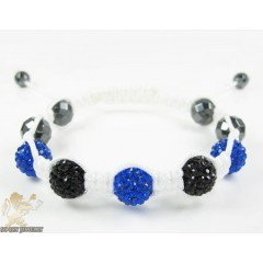 Black & Blue Rhinestone Macramé Faceted Bead Bracelet 5.00ct