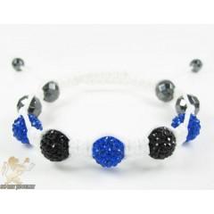 Black & Blue Rhinestone Macramé Faceted Bead Bracelet 5.00ct
