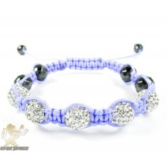 White Rhinestone Macramé Faceted Bead Rope Bracelet 5.00ct