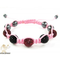 Black & Ruby Red Rhinestone Macramé Faceted Bead Rope Bracelet 5.00ct
