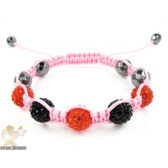 Black & Red  Rhinestone Macramé Faceted Bead Rope Bracelet 5.00ct
