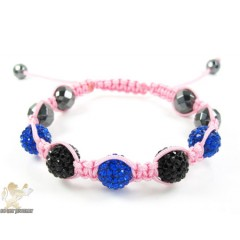 Black & Blue Rhinestone Macramé Faceted Bead Rope Bracelet 5.00ct