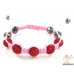 Red Rhinestone Macramé Faceted Bead Rope Bracelet 5.00ct