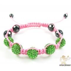 Green Rhinestone Macramé Faceted Bead Rope Bracelet 5.00ct