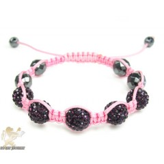 Burgundy Rhinestone Macramé Faceted Bead Rope Bracelet 5.00ct