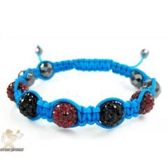 Ruby Red & Black Rhinestone Macramé Faceted Bead Rope Bracelet 5.00ct