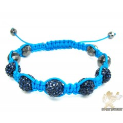 Dark Blue Rhinestone Macramé Faceted Bead Rope Bracelet 5.00ct