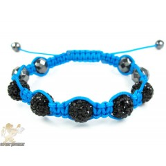 Black Rhinestone Macramé Faceted Bead Rope Bracelet 5.00ct