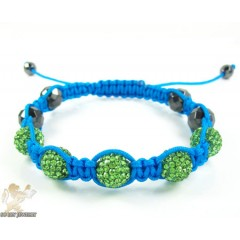 Green Rhinestone Macramé Faceted Bead Rope Bracelet 5.00ct